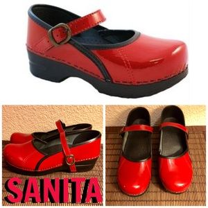 SANITA PATENT LEATHER MARY JANE STYLE CLOGS